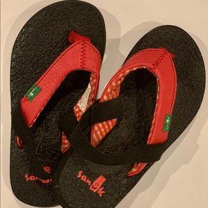 Sanuk Red Leather Yoga Matt Flip Flops Toddler XS